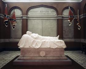 Confederate flags, seen here in the Statue Room above Robert E. Lee's tomb, were recently moved to a nearby museum.