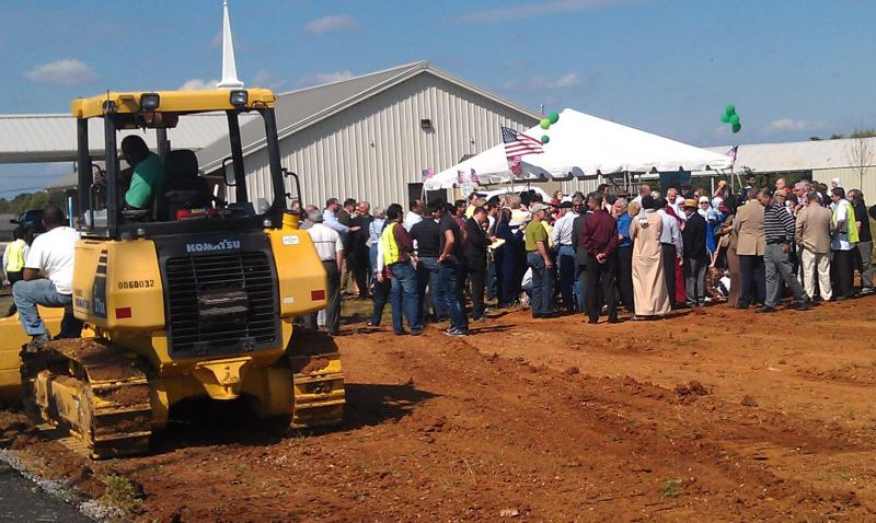 Members of the Islamic Center of Murfreesboro gather to break ground for their new mosque September 28, 2011
