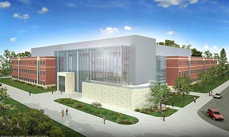 The planned MTSU Science Building, shown in this artist's rendering, will be located on the south side of campus adjacent to the James E. Walker Library on the site of the old Wood, Felder, Gore and Clement dorms.