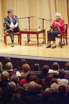 College of Liberal Arts Dean Mark Byrnes, left, listens as retired U.S. Supreme Court Justice Sandra Day O'Connor makes a point during her appearance at MTSU Feb. 8.