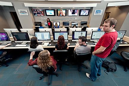 MTSU students at work in the new Center for Innovation in Media at the College of Mass Communication