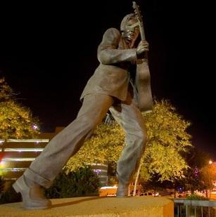A statue of Elvis that stands on famed Beale Street in Memphis.