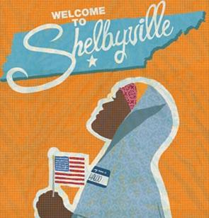 "A poster advertising the film ""Welcome to Shelbyville."""