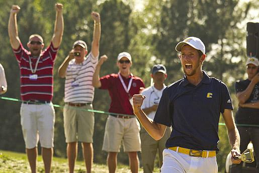 Steven Fox celebrates his winning 18-foot birdie putt on the 37th hole to claim the 2012 U.S. Amateur at Cherry Hills C.C.