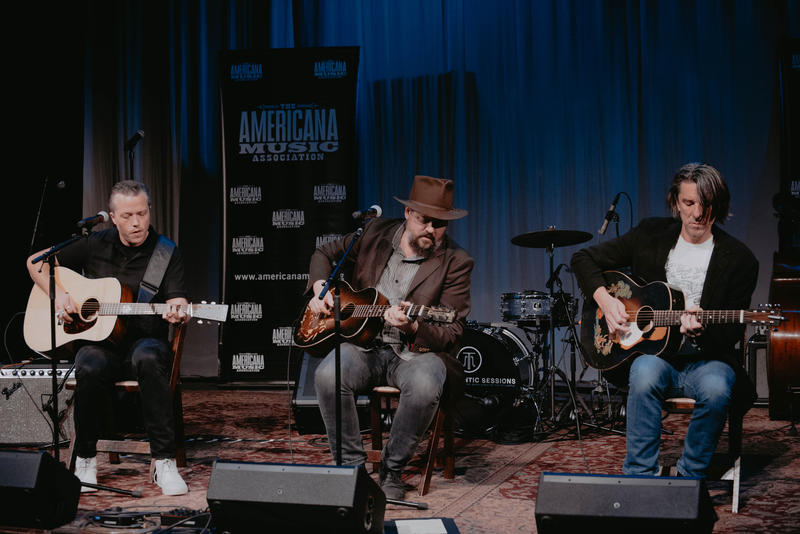 Jason Isbell, Patterson Hood and Mike Cooley perform on May 9, 2017 at the Americana Music Honors & Awards nominations announcement ceremony.