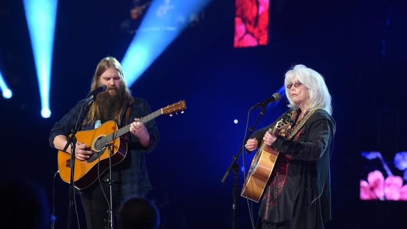 "Chris Stapleton and Emmylou Harris perform Tom Petty's ""Wildflowers"" at the 60th Grammy Awards Sunday night."
