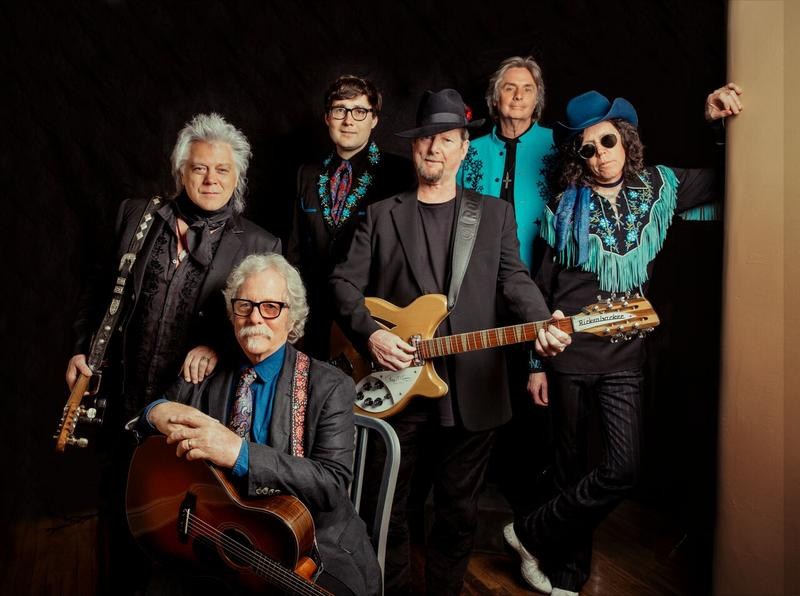 From L: Marty Stuart, Chris Hillman, Chris Scruggs, Roger McGuinn, Harry Stinson and Kenny Vaughan