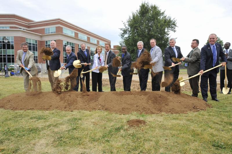 MTSU groundbreaking group: Let the work begin! Dignitaries jubilantly toss the ceremonial first shovels of dirt for MTSU's long-awaited new Science Building on campus May 3.