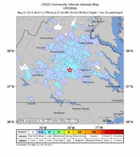 Virginia earthquake of May 22, 2014 --summary of witness reports and detection equipment. Image credit: USGS