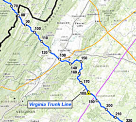 Dominion map (detail) shows part of the proposed Virginia Trunk Line