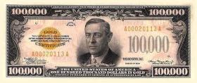 Trivia: Wilson does appear on US paper money --in fact, he's on the largest denomination ever printed (the 1934 $100,000 Gold Certificate).