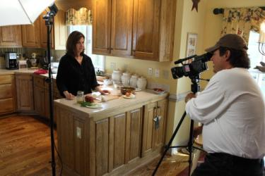 Theresa Curry, on the set of a short film about food that is being produced and directed by Jimmy Overton