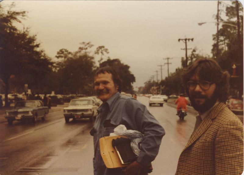 "Harry Crews (center) ""back in the day"" (circa 1973?) with David Jeffrey (right)."