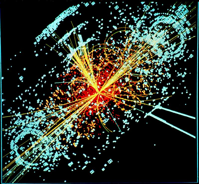 An example of simulated data modeled for the CMS particle detector on the Large Hadron Collider (LHC) at CERN.