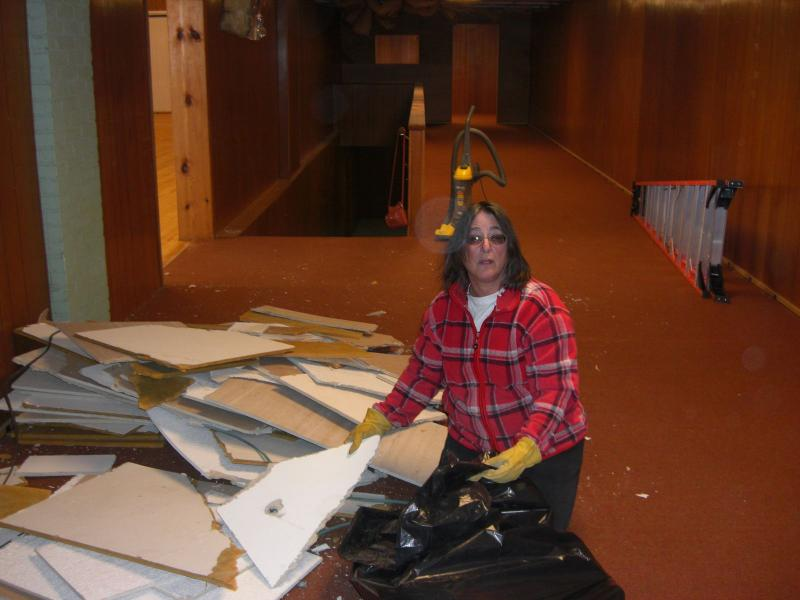 Lisa Neall during construction of Plan B Broadway