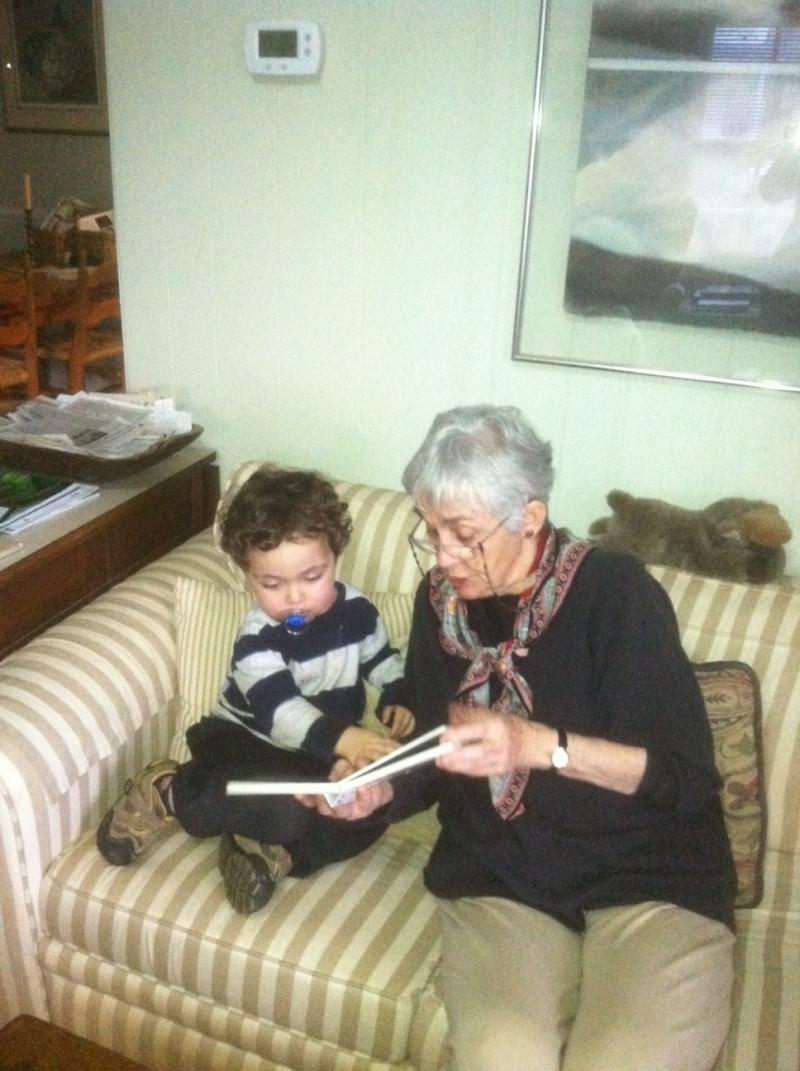 Val Matthews reading to her grandson Gareth