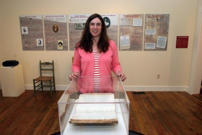 Sascha Goluboff in front of one of her displays at the Brownsburg Museum