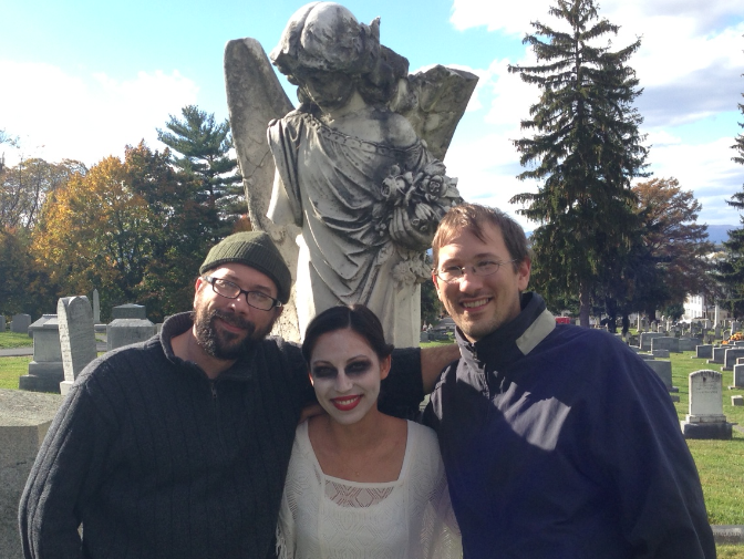 "In a graveyard (of course) the Howdyshell brothers Mike and Chris bracket ""dead girl"" character Allie Toro."