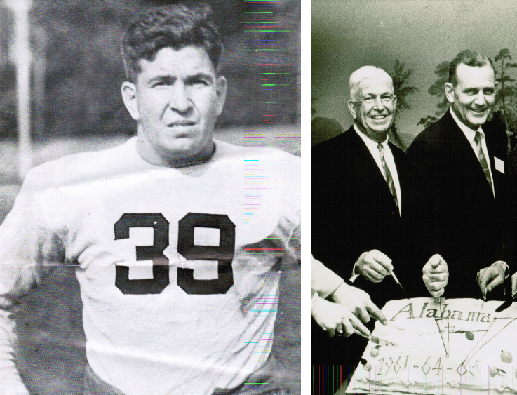 Laslie (left) in team uniform, and (right) alongside Bear Bryant cutting a 1960s 'Bama team cake.