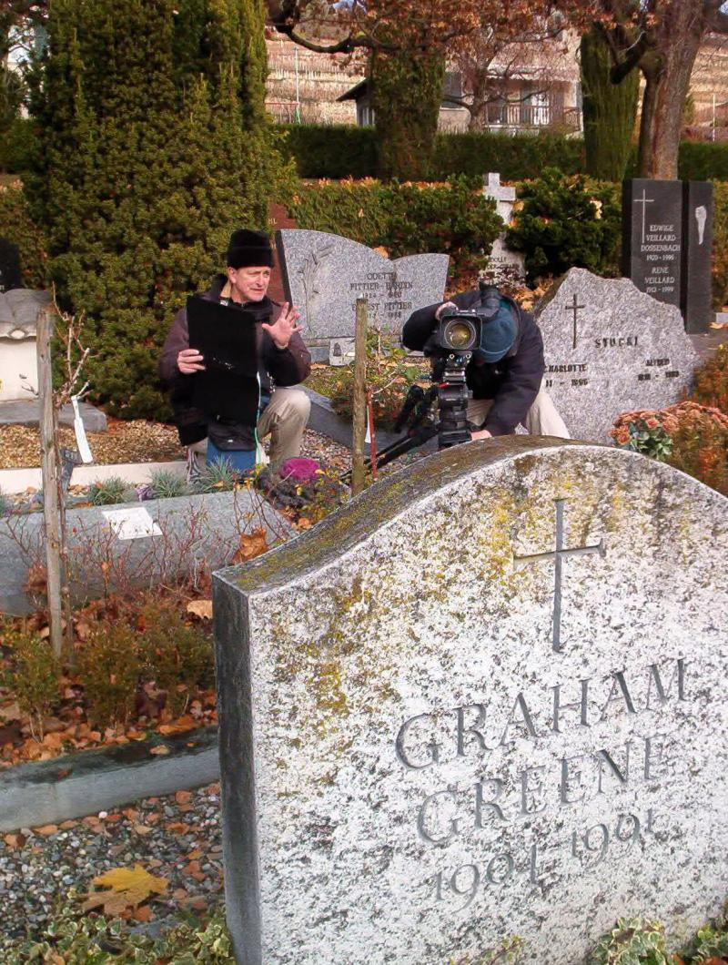 Film crew at Graham Greene's gravesite.