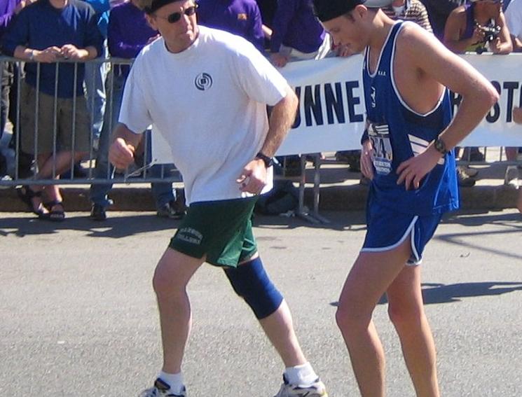 Boston Marathon participants (2005 archive image, cropped).  Original photo by Boston-based Wikipedia user Pingswept.