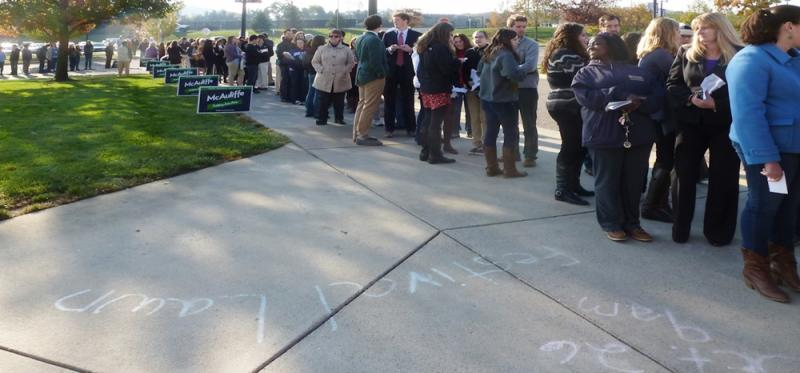 Attendees waiting to enter JMU's Festival Conference & Student Center