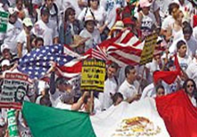 Immigration amnesty rally (public domain image, 2006).