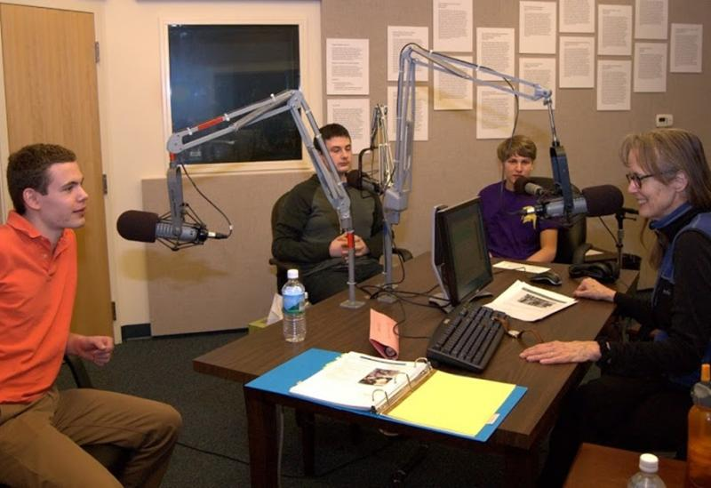 Left to right: Andy Cohen, Dor Hananel, Alex Jordan (all from Western Albemarle H.S.), WMRA's Martha Woodroof.