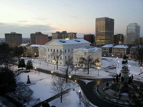 "<a href=""http://www.flickr.com/photos/virginiageneralassembly/7985923027/"">Winter at the Virginia State Capitol</a>"