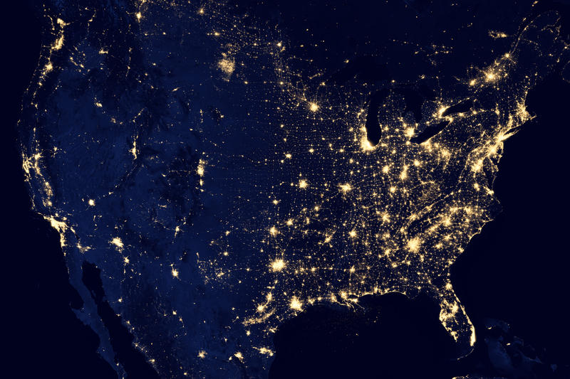 United States of America at night - a composite assembled from data acquired by the Suomi NPP satellite in April and October 2012