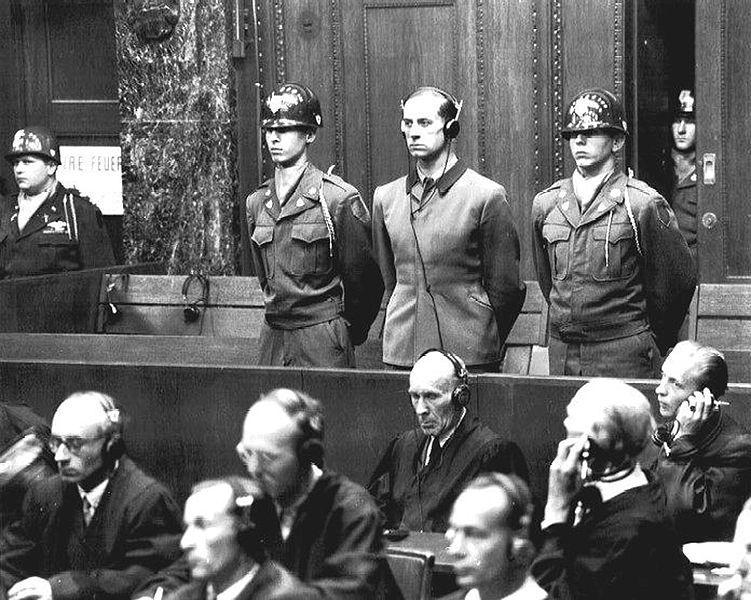 Karl Brandt, Adolf Hitler's personal physician, at the U.S. War Crimes Tribunal at Nuremberg