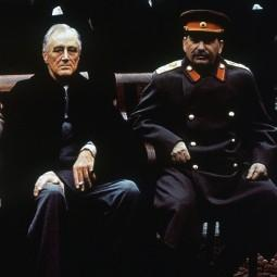 U.S. President Franklin Roosevelt and Soviet premier Joseph Stalin at the Yalta conference, February 1945.