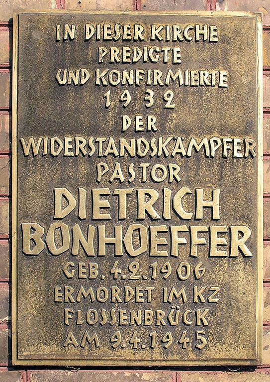 Bonhoeffer church plaque. Image credit: OTFW_Berlin