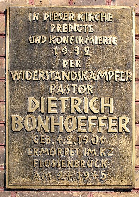 Bonhoeffer church plaque. Image credit: OTFW_Berlin