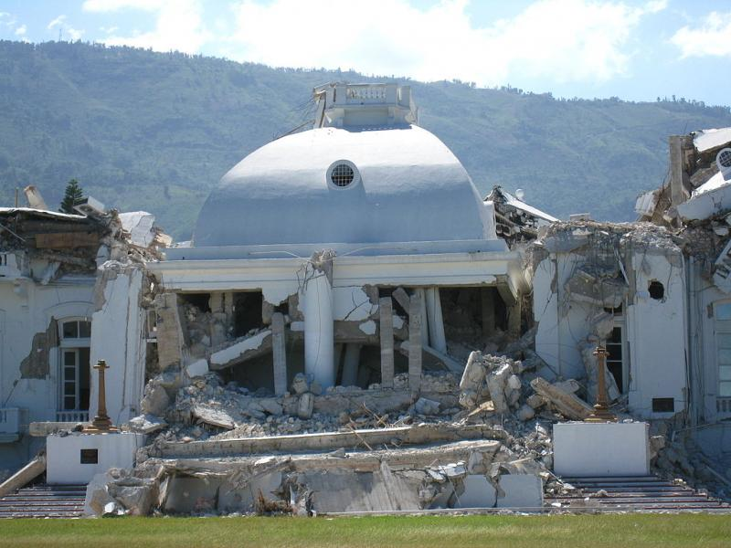Haiti's Presidential Palace in ruins, January 2010.