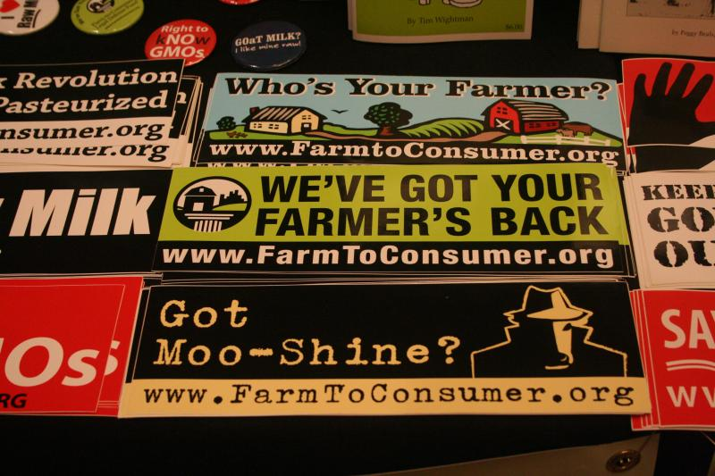 Bumper-sticker attitude from the Farm-to-Consumer Legal Defense Fund at the Food Freedom Festival.