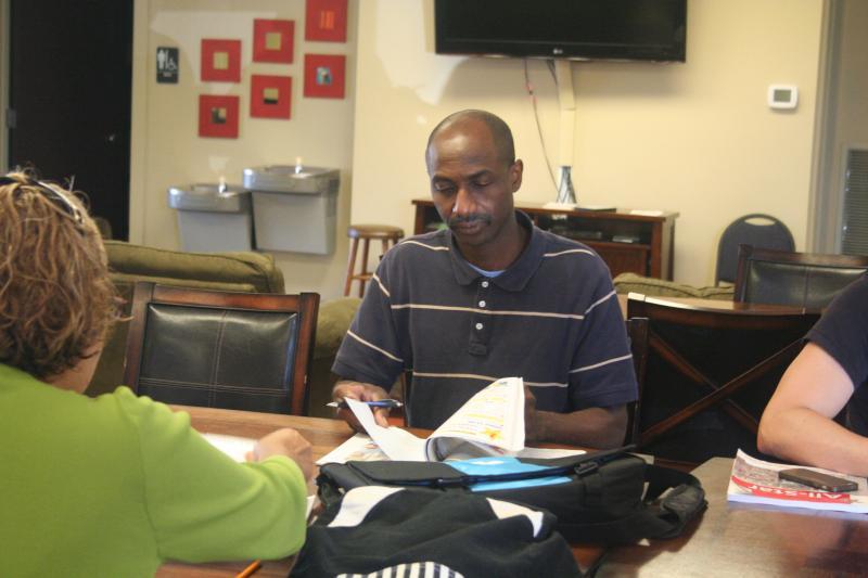 : Juan Alvarez has been taking Jorin's class two mornings a week. He spoke no English when he arrived in Virginia.