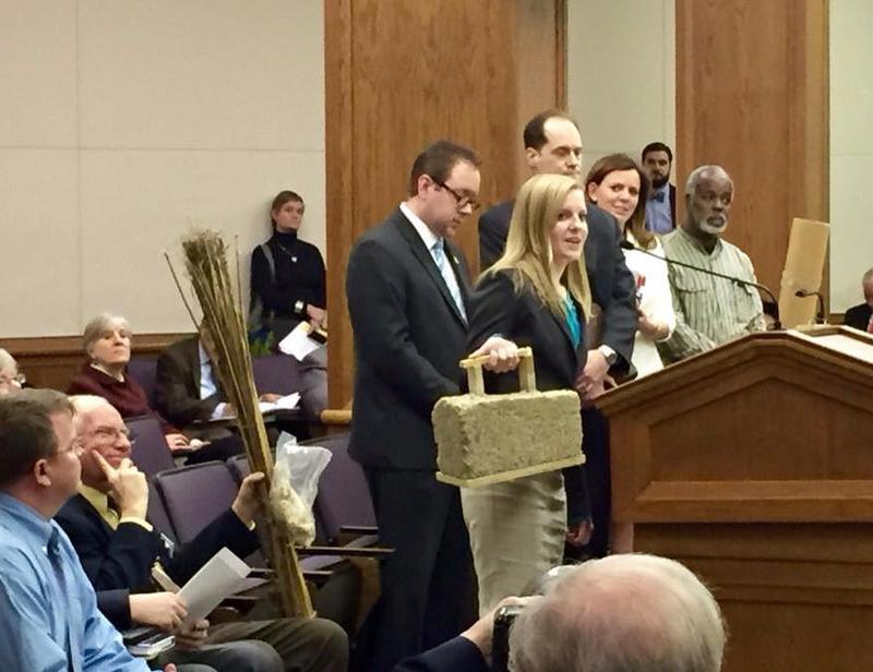 Public testimony at a committee hearing on the Virginia Industrial Hemp Farming Act included some hemp product show-and-tell.