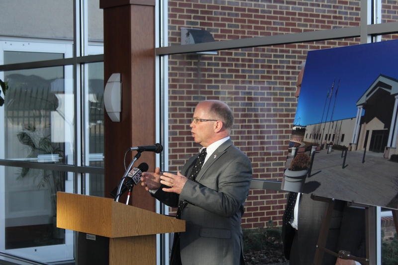 Rockingham County Administrator Joe Paxton speaks at the press conference, held Wednesday afternoon at the Shenandoah Valley Regional Airport.
