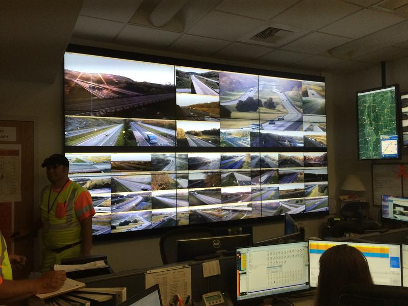 """The """"Wall of Video"""" Showing I-81 and I-64 cameras at VDOT's Staunton Operations Center."""