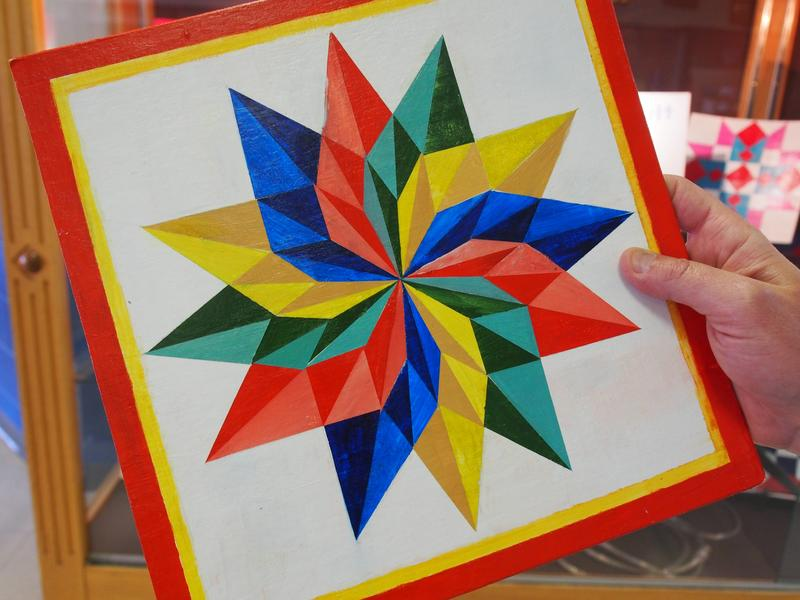 A closer look at one of the more intricate barn quilt designs created by one of math teacher Scott Fleshman's advanced placement geometry students at Rockbridge County High School in Lexington.