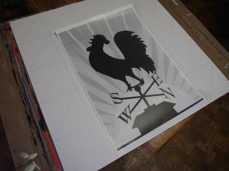 Russell Fleshman shows off one of his latest barn quilt designs in progress. It will feature a rooster.