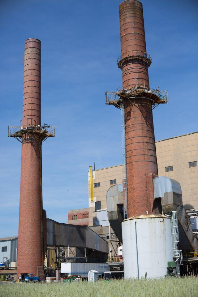Smokestacks no longer in use at the converted Dominion owned Bremo Power Station