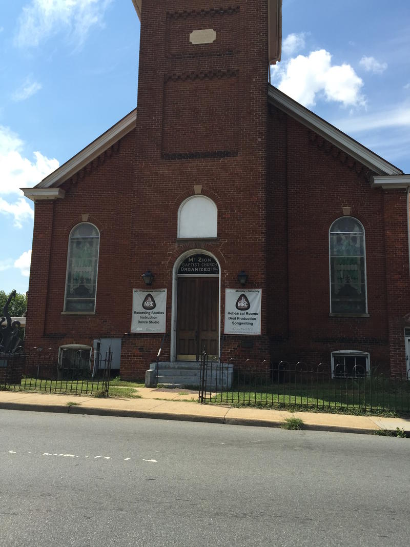 The Music Resource Center operates out of an old church building on the corner of Ridge Street and Main Street in Charlottesville.