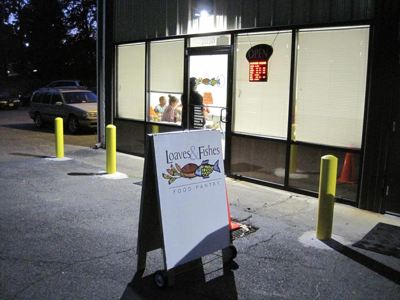 Outside the Loaves & Fishes food pantry, near Albemarle High School in Charlottesville