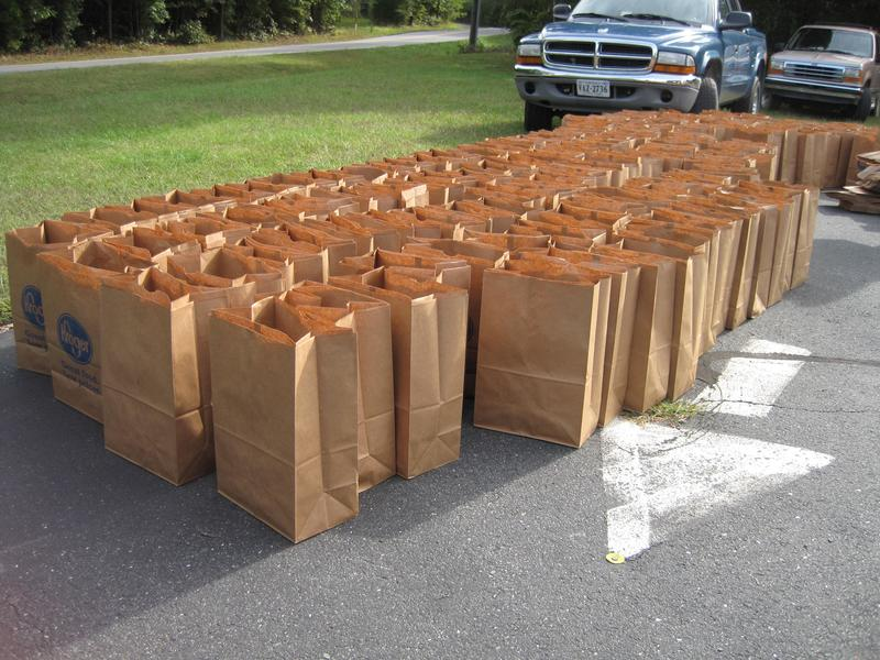 Empty bags lay ready to be filled with groceries at the Palmyra Mobile Food Pantry.