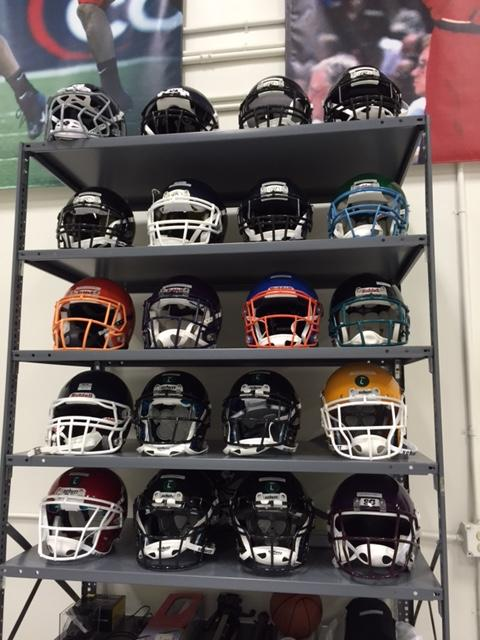 Array of helmets in Richard Kent's private lab,  Biocore.