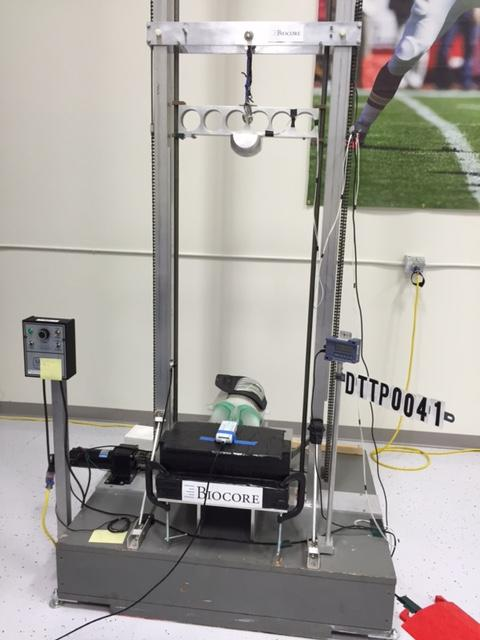 Pad impact test machine in Kent's private lab, Biocore.