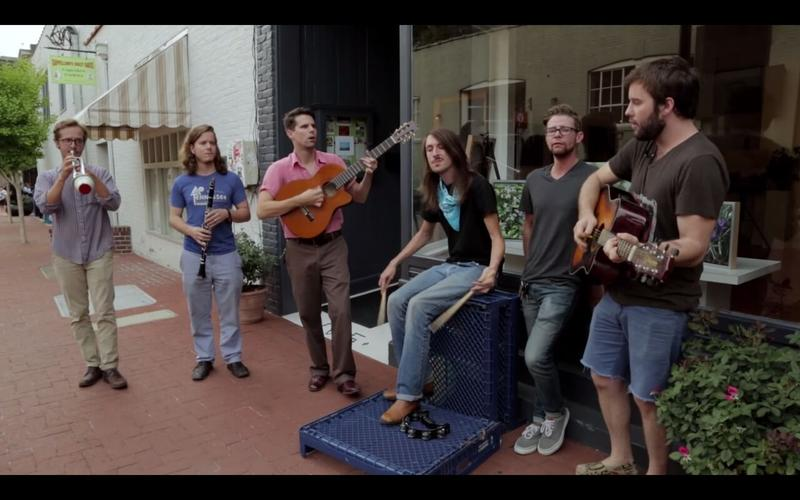 """For their Garage Video Session, North Carolina band Holy Ghost Tent Revival performed their song """"Thought About"""" on the pedestrian mall in Charlottesville."""