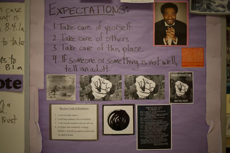 A board of expectations in Rob Fennimore's classroom. Fennimore is an 8th grade English teacher at Skyline Middle School.